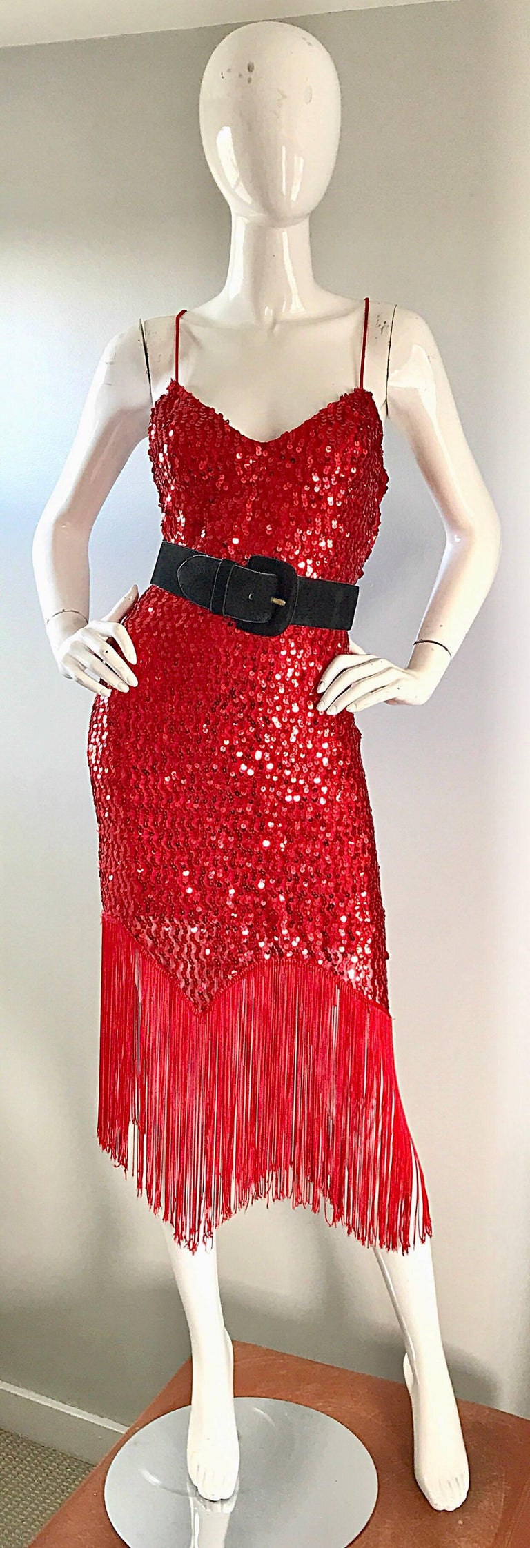 Women's Vintage Joy Stevens 1970s Does 1920s Flapper Style Sequin Sz 10 Fringe Red Dress For Sale