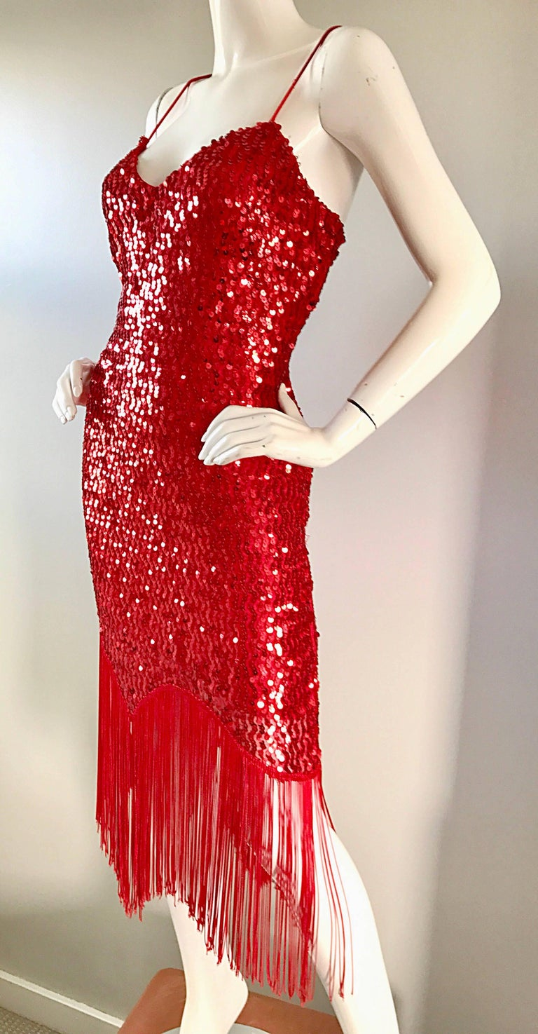 Vintage Joy Stevens 1970s Does 1920s Flapper Style Sequin Sz 10 Fringe Red Dress For Sale 1