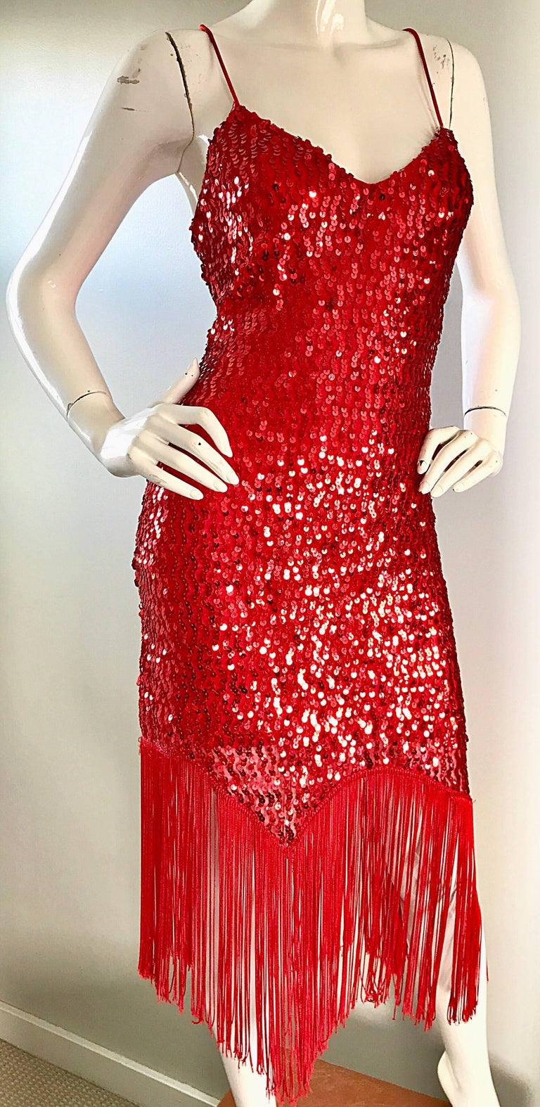 Vintage Joy Stevens 1970s Does 1920s Flapper Style Sequin Sz 10 Fringe Red Dress For Sale 4