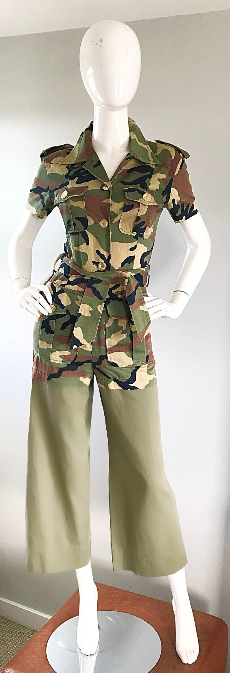 Vintage Moschino Camouflage 1990s Belted 90s Rare Safari Cargo Jumpsuit Romper For Sale 4