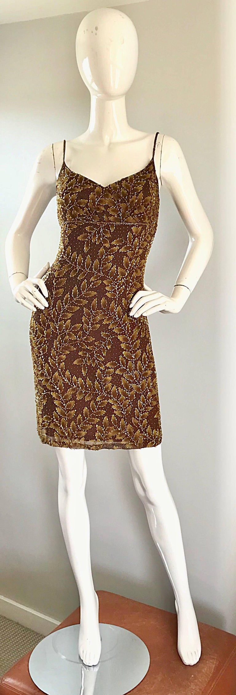 1990s Oleg Cassini Size 10 Brown and Gold Beaded Vintage 90s Silk Dress 2