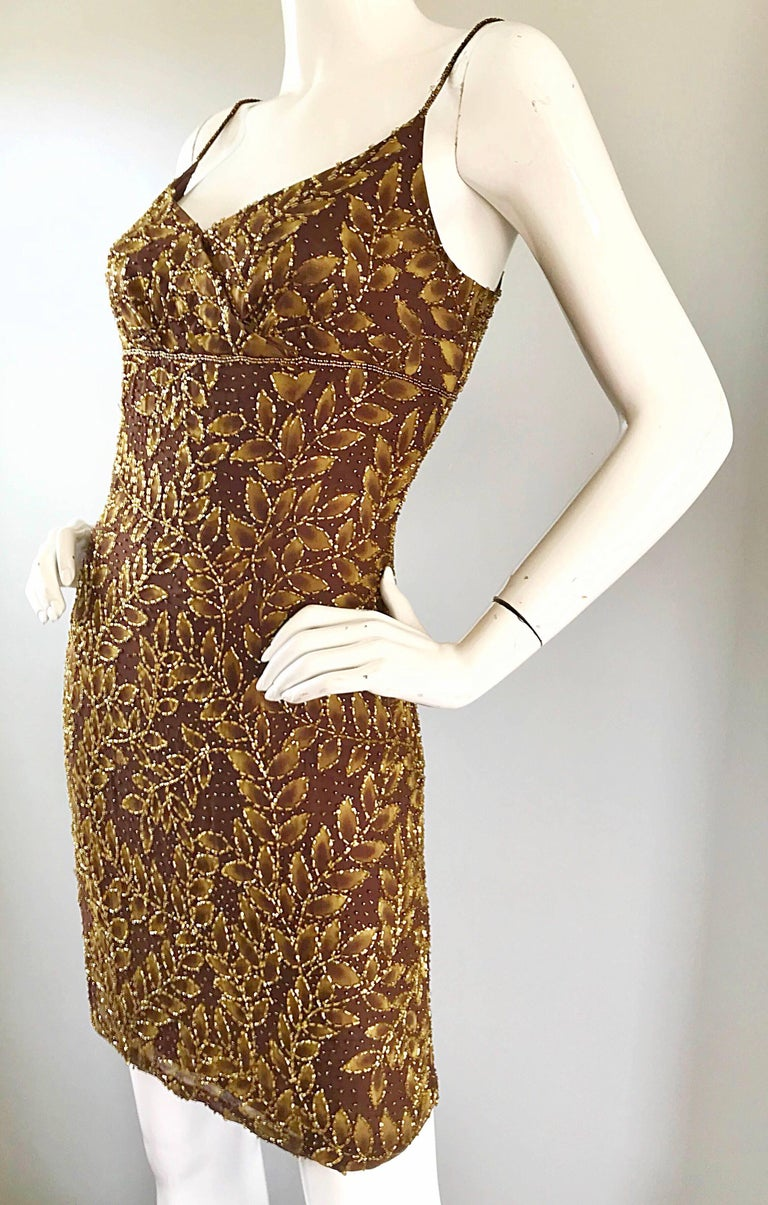 1990s Oleg Cassini Size 10 Brown and Gold Beaded Vintage 90s Silk Dress 4