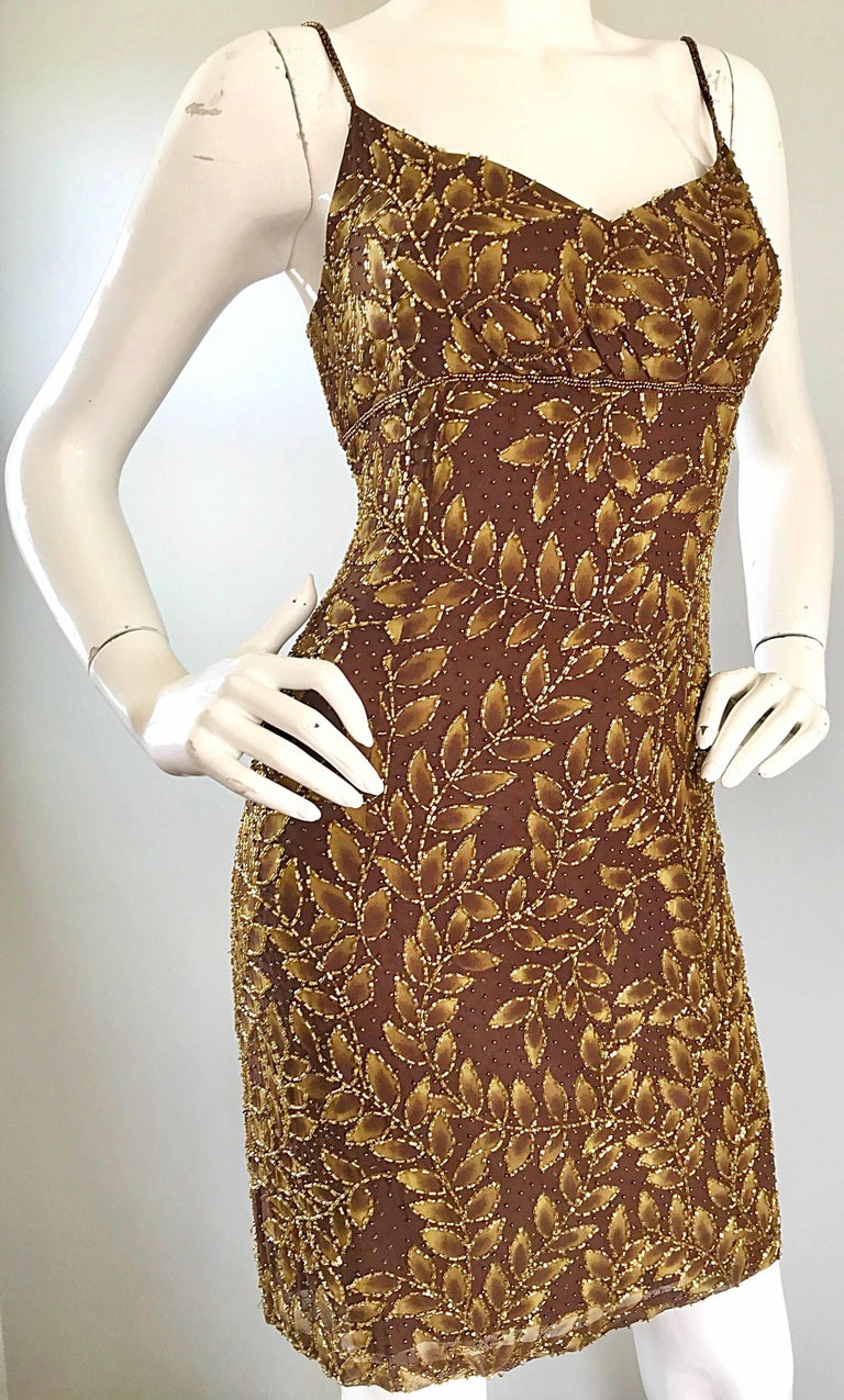 1990s Oleg Cassini Size 10 Brown and Gold Beaded Vintage 90s Silk Dress 5