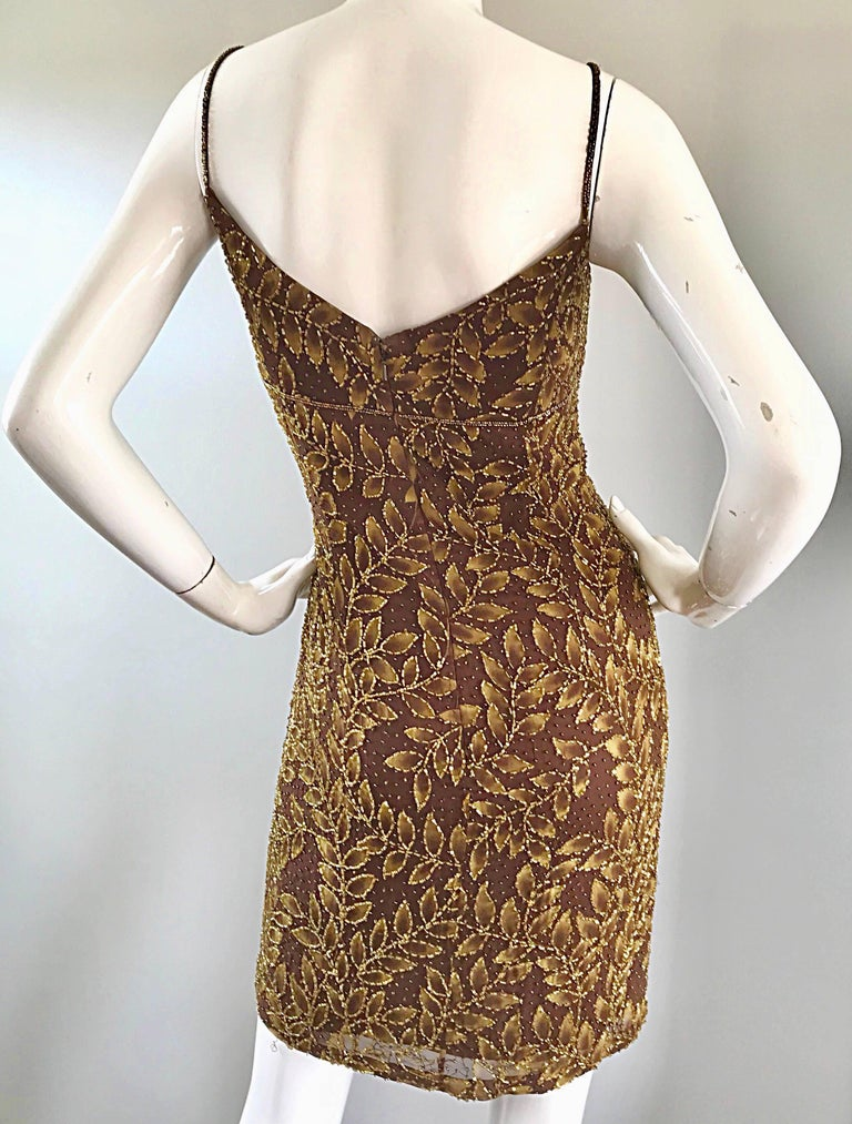 1990s Oleg Cassini Size 10 Brown and Gold Beaded Vintage 90s Silk Dress 6