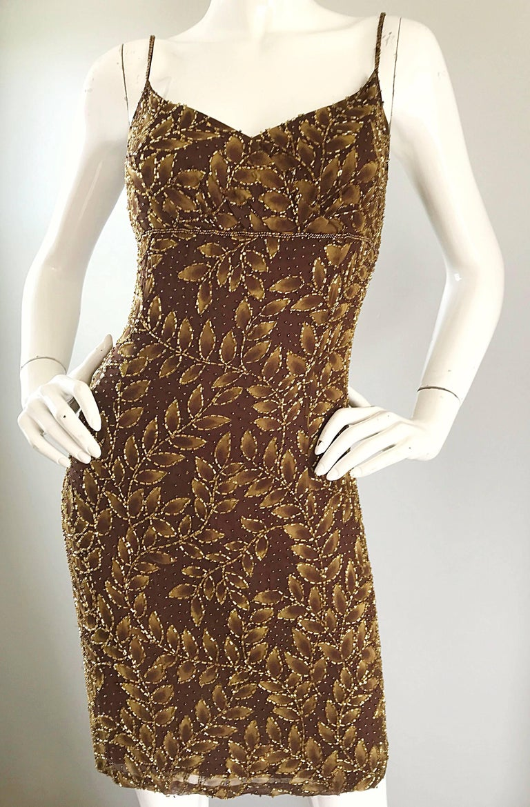 1990s Oleg Cassini Size 10 Brown and Gold Beaded Vintage 90s Silk Dress 7