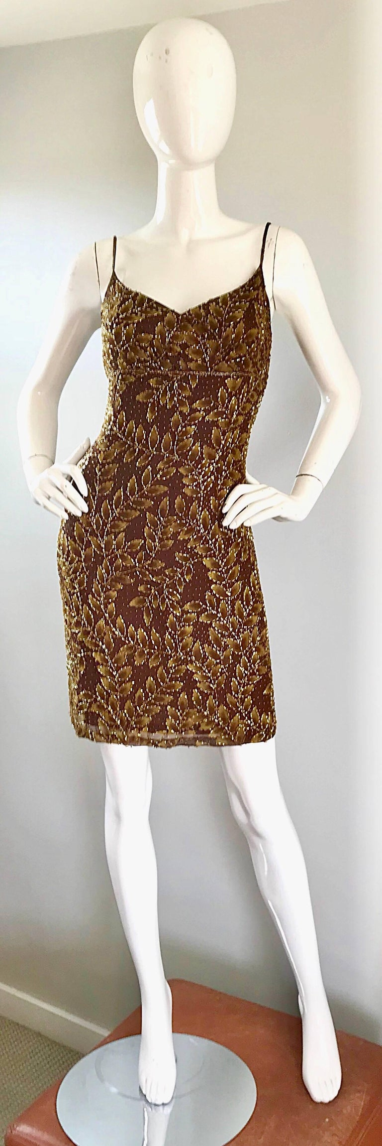 1990s Oleg Cassini Size 10 Brown and Gold Beaded Vintage 90s Silk Dress 9