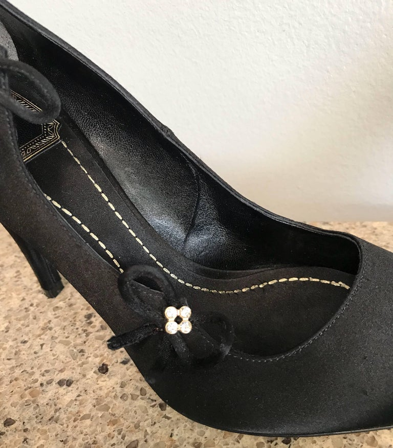 Christian Dior by John Galliano Size 36 / 6 Black Silk Satin Rhinestone Heels In Excellent Condition For Sale In Chicago, IL