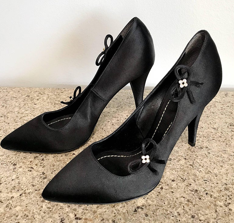Christian Dior by John Galliano Size 36 / 6 Black Silk Satin Rhinestone Heels For Sale 1