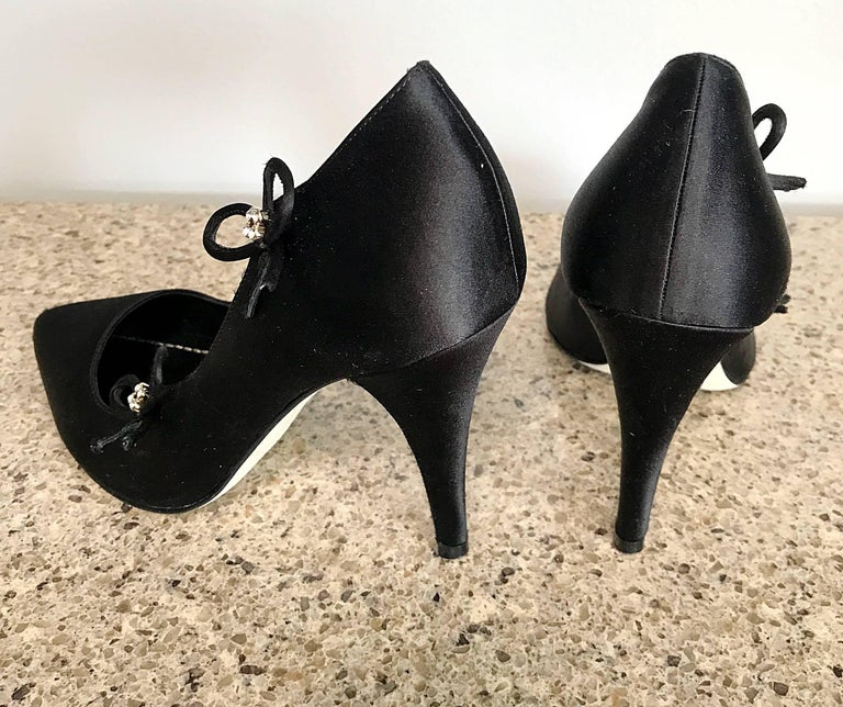 Christian Dior by John Galliano Size 36 / 6 Black Silk Satin Rhinestone Heels For Sale 2