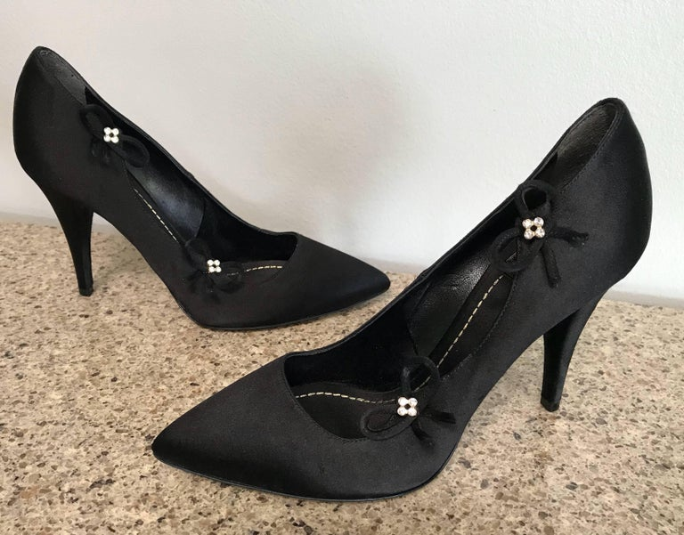 Christian Dior by John Galliano Size 36 / 6 Black Silk Satin Rhinestone Heels For Sale 3