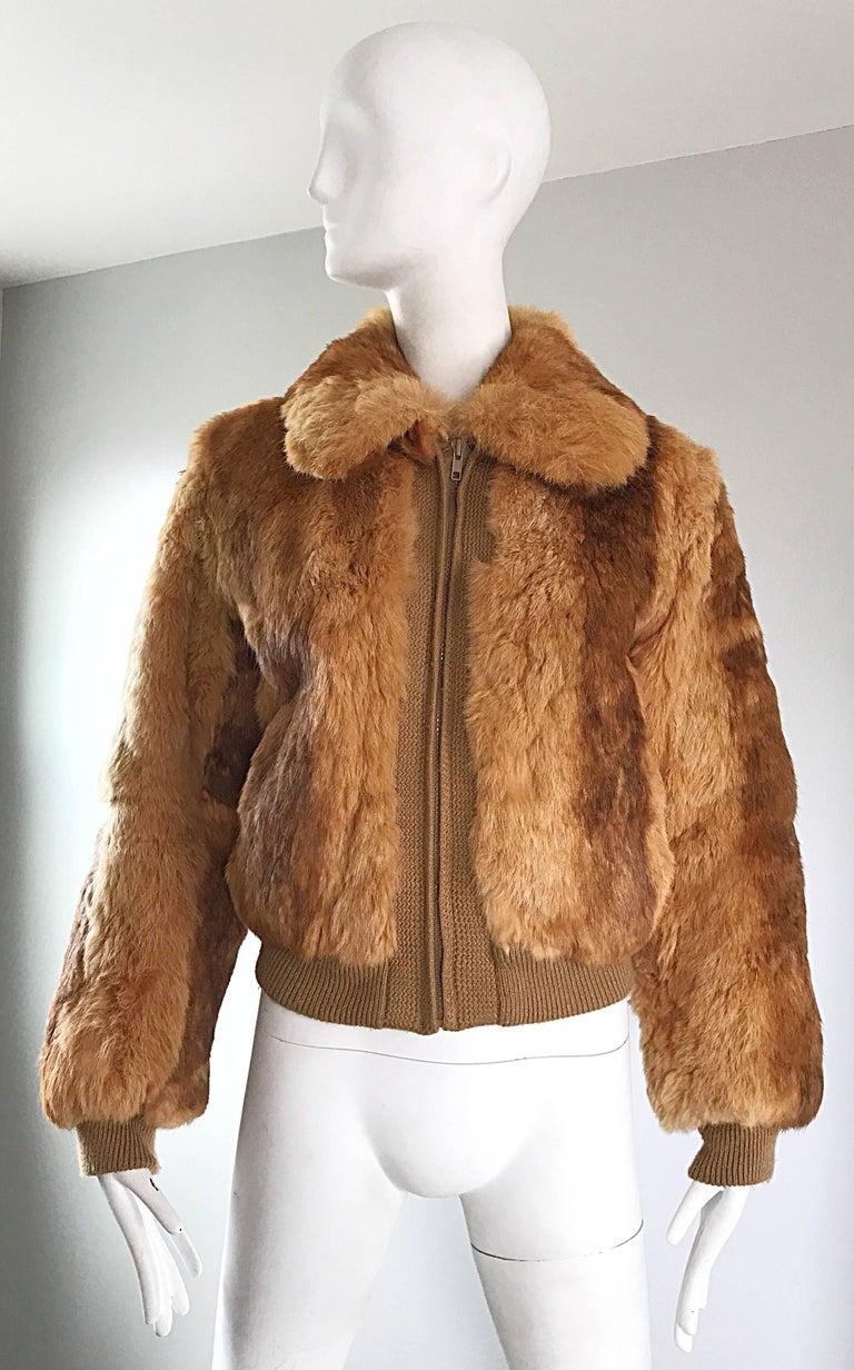 1970s Rabbit Fur Brown Copper Rust Bomber Style Vintage