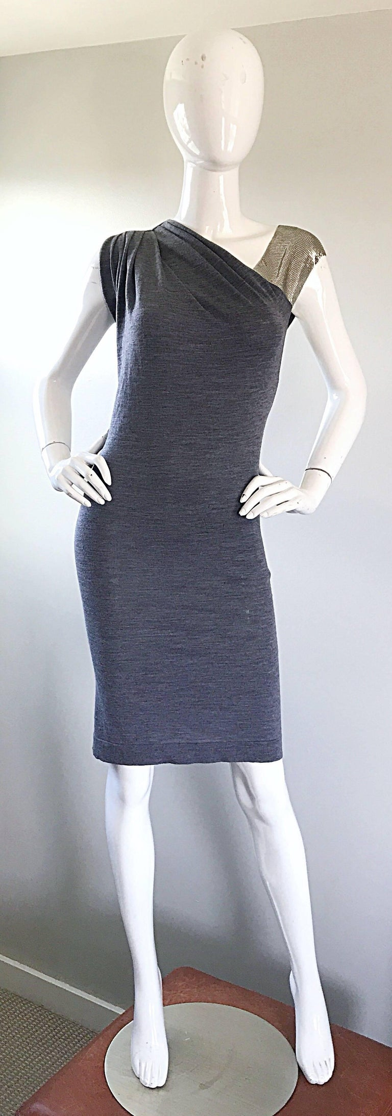 Brand new with tags PIERRE BALMAIN gray wool and cashmere one shoulder chain mail cocktail dress! Features one shoulder of metal mesh chainmail, produced by Whiting & Davis. Super soft and luxurious wool and cashmere blend. Simply slips over the