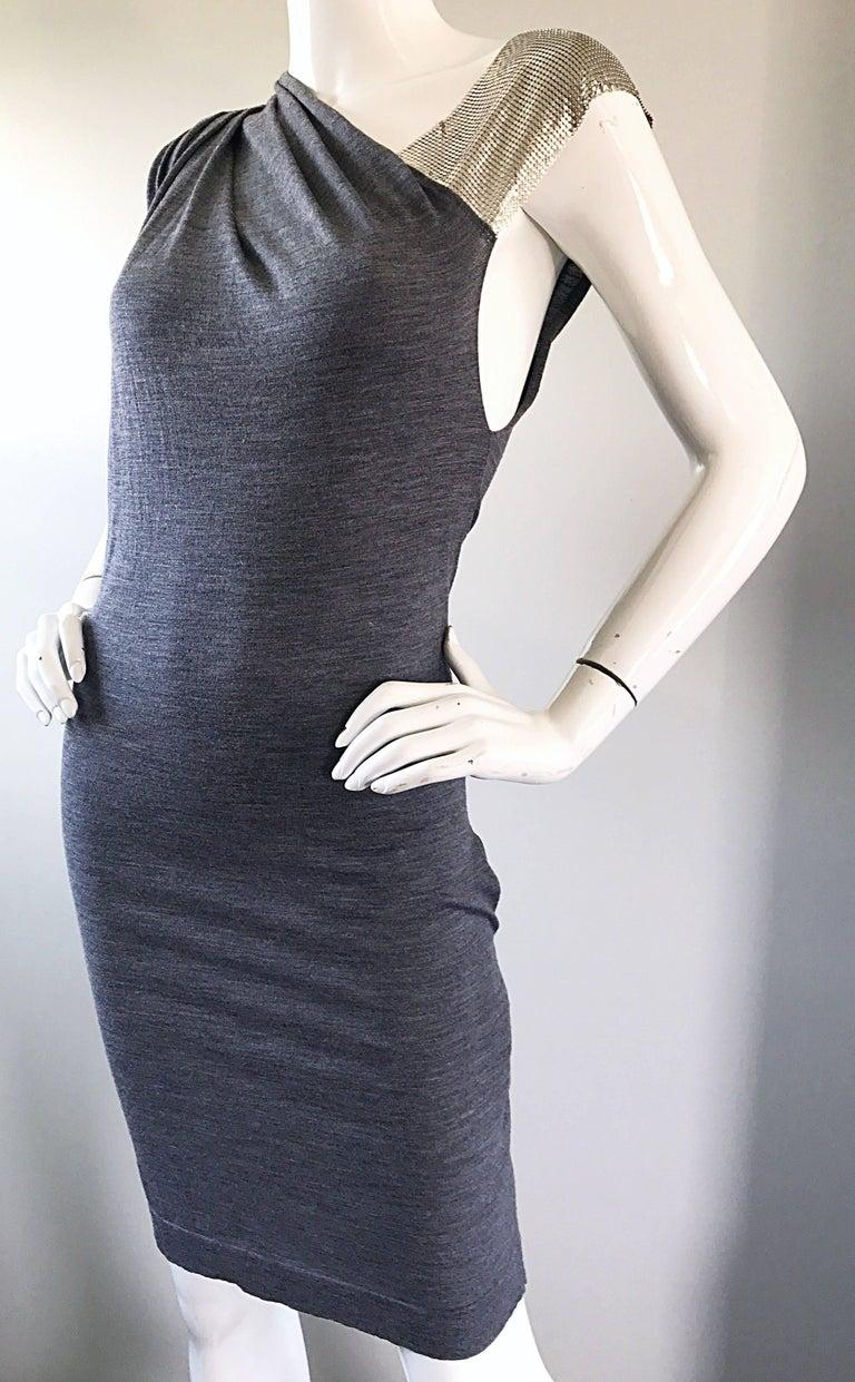 Women's Brand New Pierre Balmain Chainmail One Shoulder Grey Wool Metal Mesh Dress Sz 40 For Sale