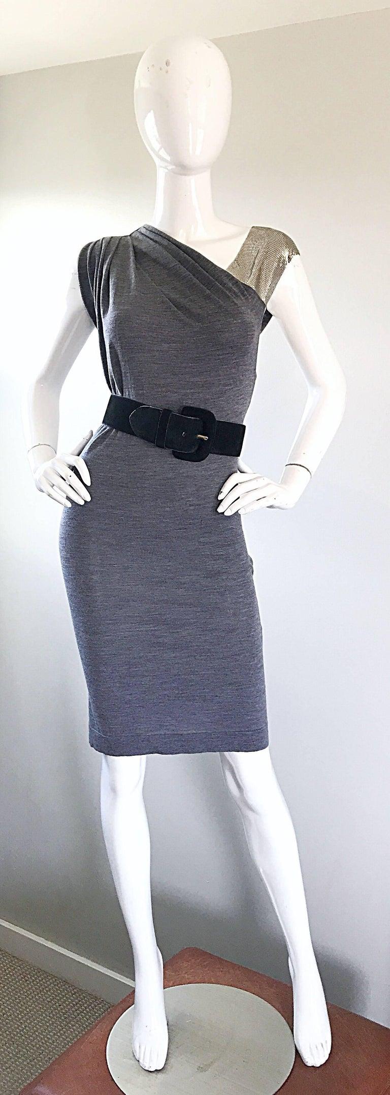 Brand New Pierre Balmain Chainmail One Shoulder Grey Wool Metal Mesh Dress Sz 40 For Sale 1