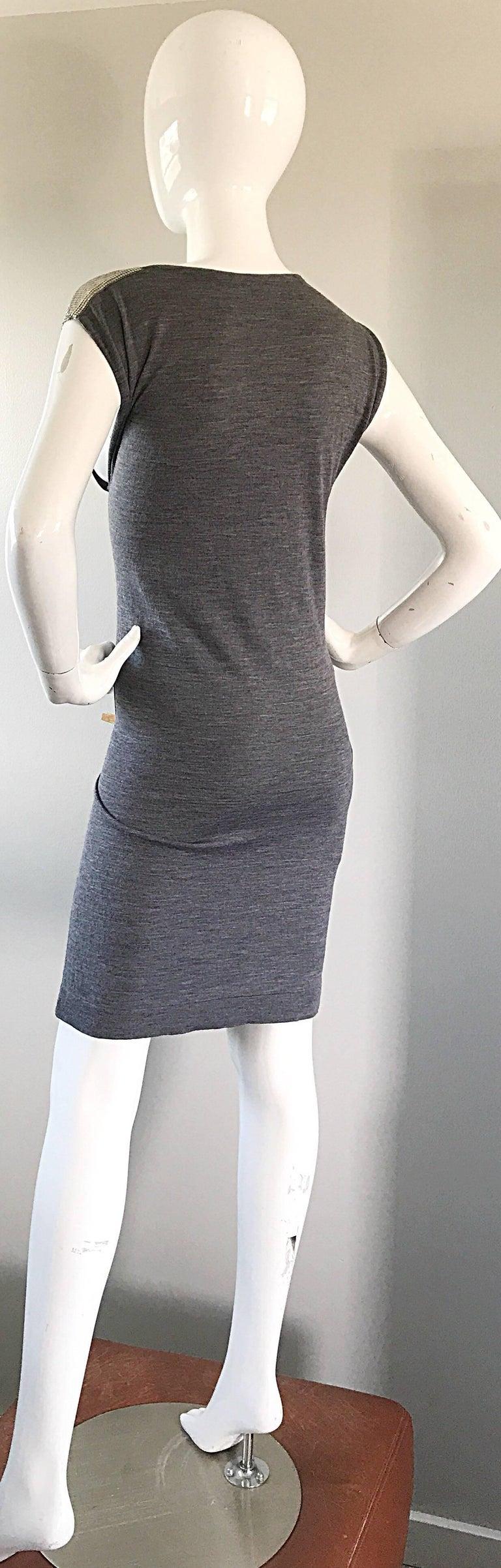 Brand New Pierre Balmain Chainmail One Shoulder Grey Wool Metal Mesh Dress Sz 40 For Sale 3