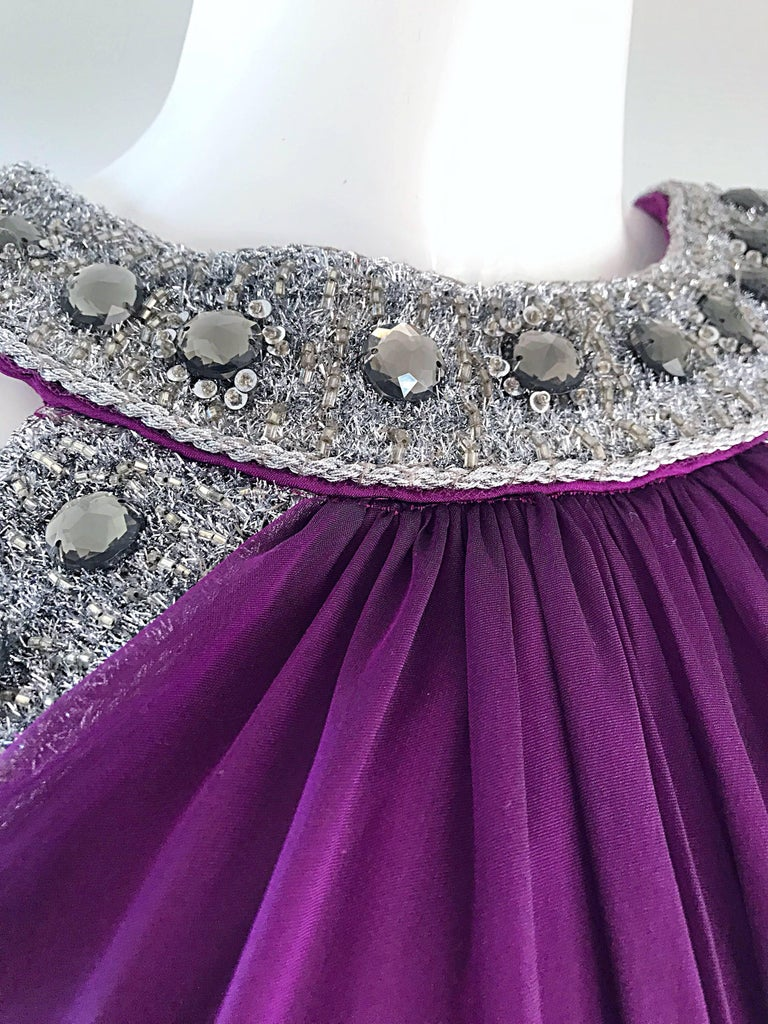 1990s Badgley Mischka Sz 4 6 Purple Silk Chiffon Rhinestone Vintage Grecian Gown In Excellent Condition For Sale In Chicago, IL