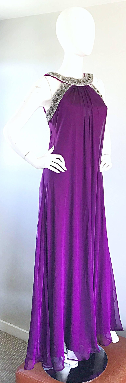Women's 1990s Badgley Mischka Sz 4 6 Purple Silk Chiffon Rhinestone Vintage Grecian Gown For Sale