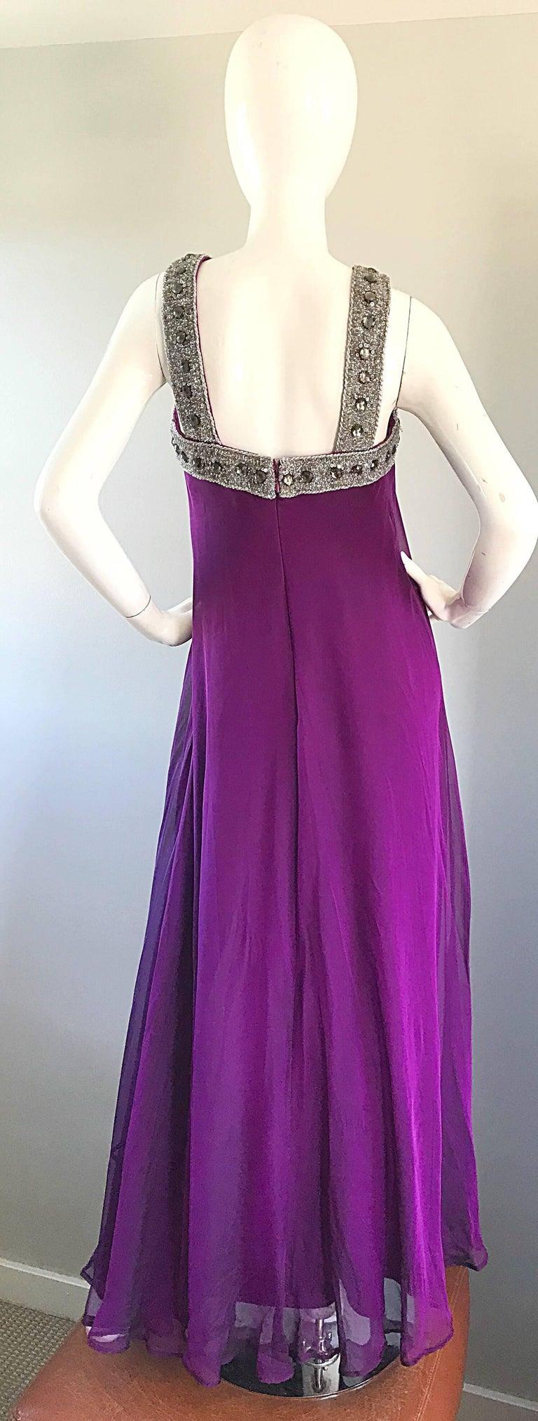 1990s Badgley Mischka Sz 4 6 Purple Silk Chiffon Rhinestone Vintage Grecian Gown For Sale 1