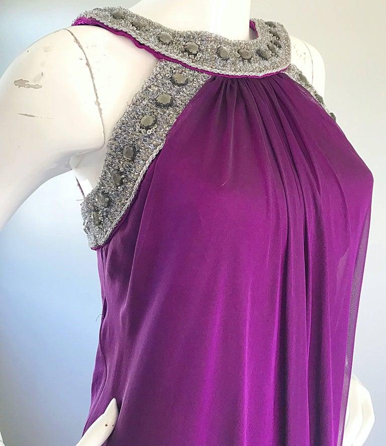 1990s Badgley Mischka Sz 4 6 Purple Silk Chiffon Rhinestone Vintage Grecian Gown For Sale 2