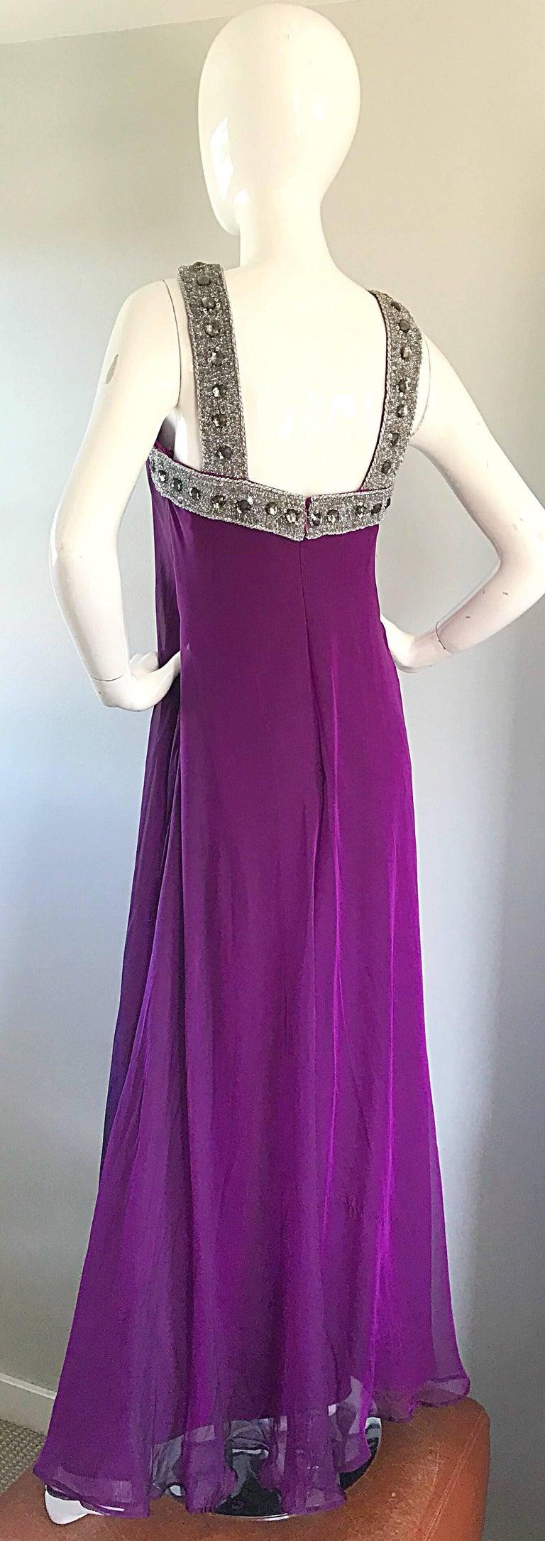1990s Badgley Mischka Size 4 Purple Silk Chiffon Rhinestone Vintage ...