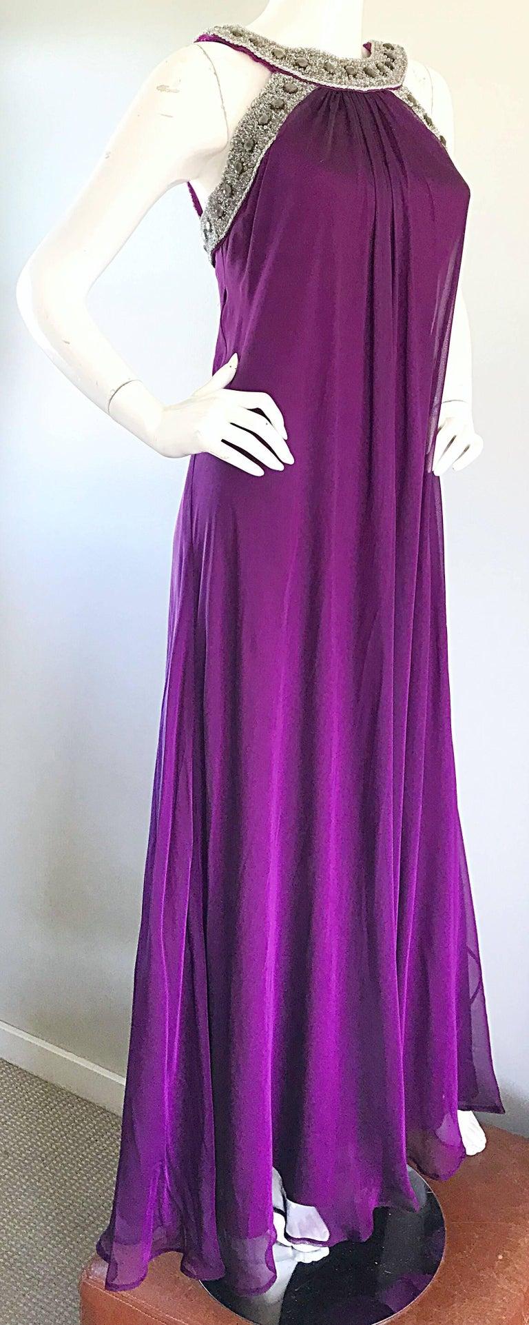 1990s Badgley Mischka Sz 4 6 Purple Silk Chiffon Rhinestone Vintage Grecian Gown For Sale 4