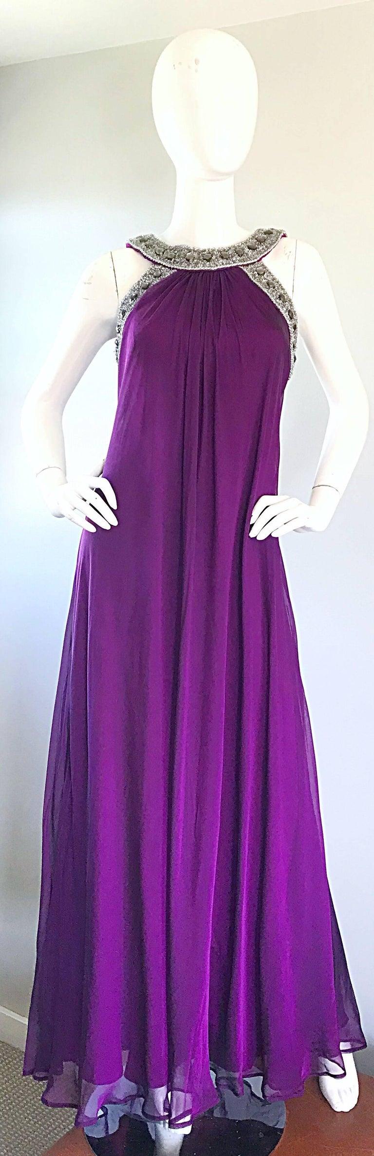 1990s Badgley Mischka Sz 4 6 Purple Silk Chiffon Rhinestone Vintage Grecian Gown For Sale 5