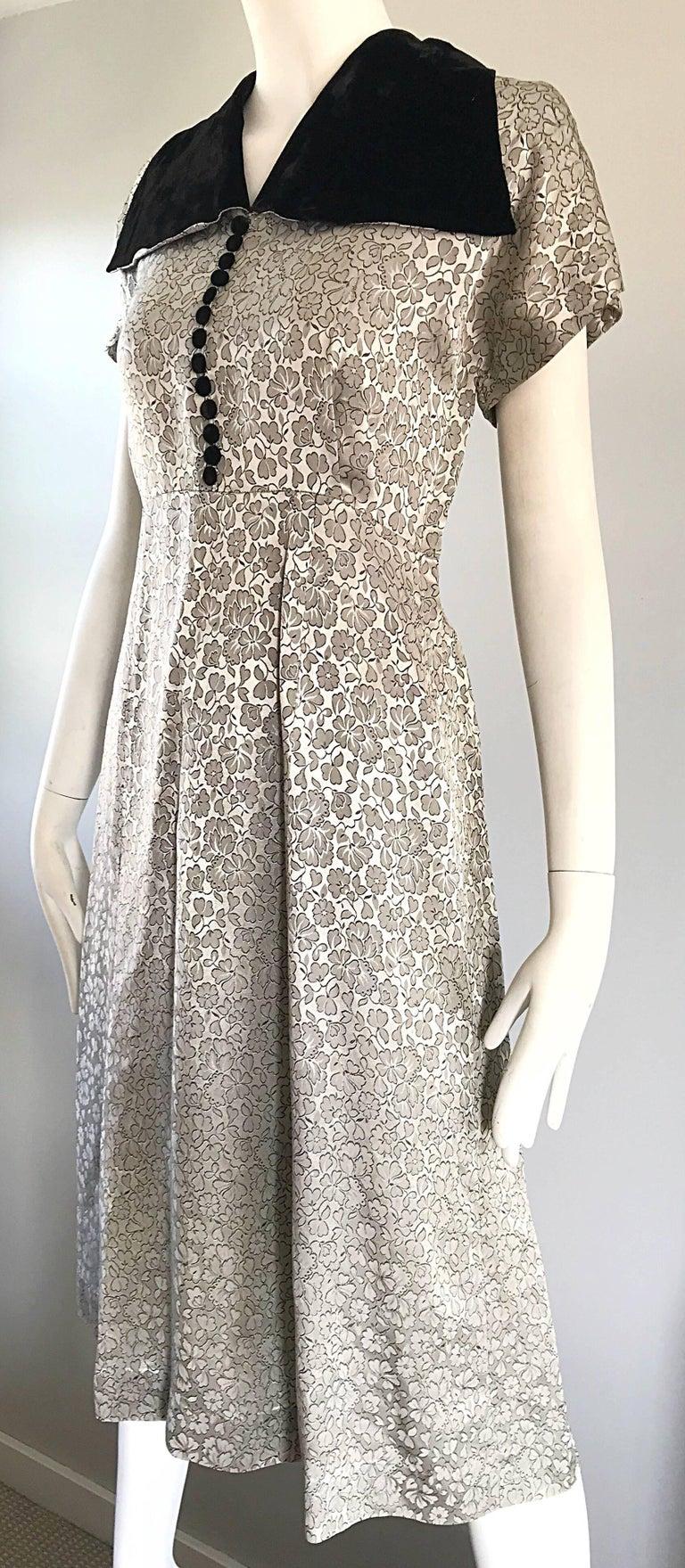 1940s Dress Silky Stars Vintage 40s Dress: Beautiful 1940 Silver Grey And Black Silk + Velvet Flower