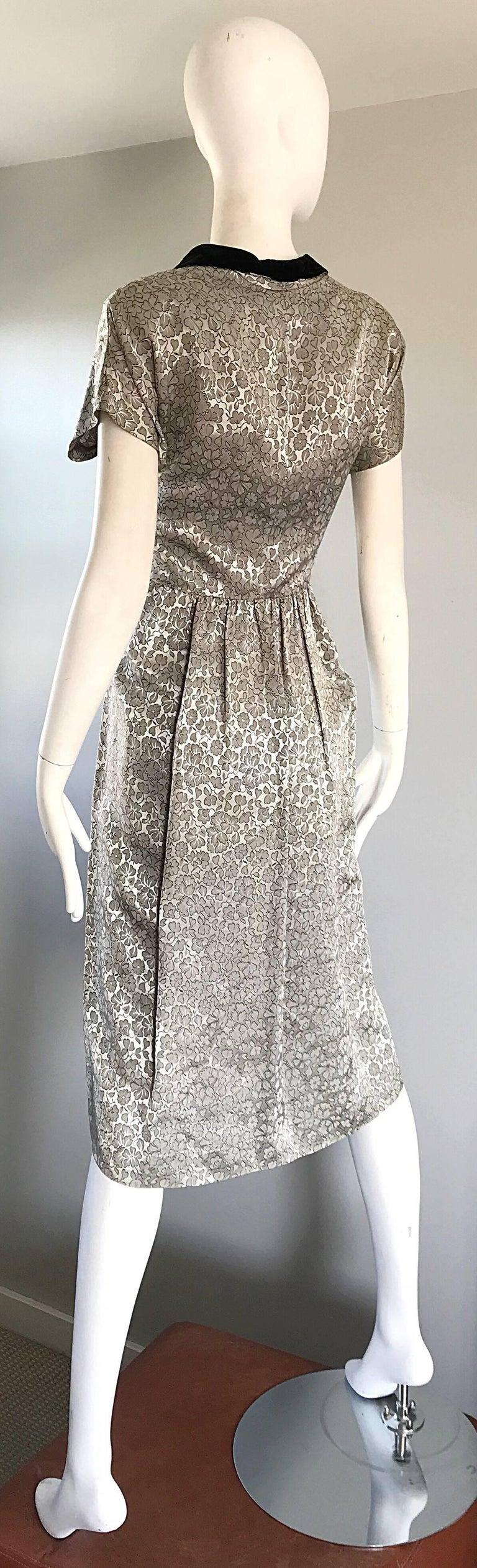 Beautiful 1940 Silver Grey And Black Silk Velvet Flower