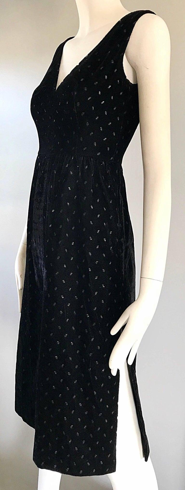 Women's 1960s Courreges Black Velvet Metallic Beautiful Vintage 60s A Line Dress  For Sale