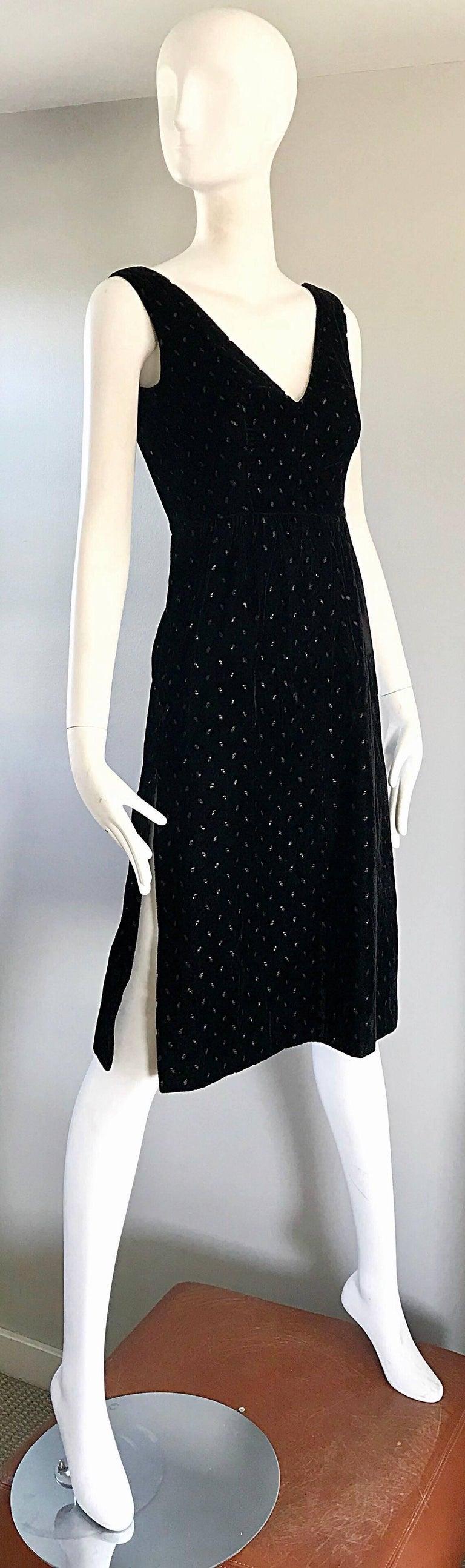1960s Courreges Black Velvet Metallic Beautiful Vintage 60s A Line Dress  For Sale 1