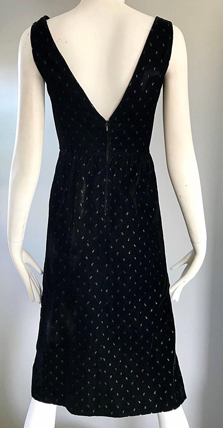 1960s Courreges Black Velvet Metallic Beautiful Vintage 60s A Line Dress  For Sale 2