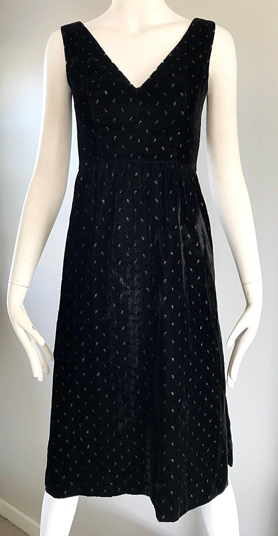 1960s Courreges Black Velvet Metallic Beautiful Vintage 60s A Line Dress  For Sale 3