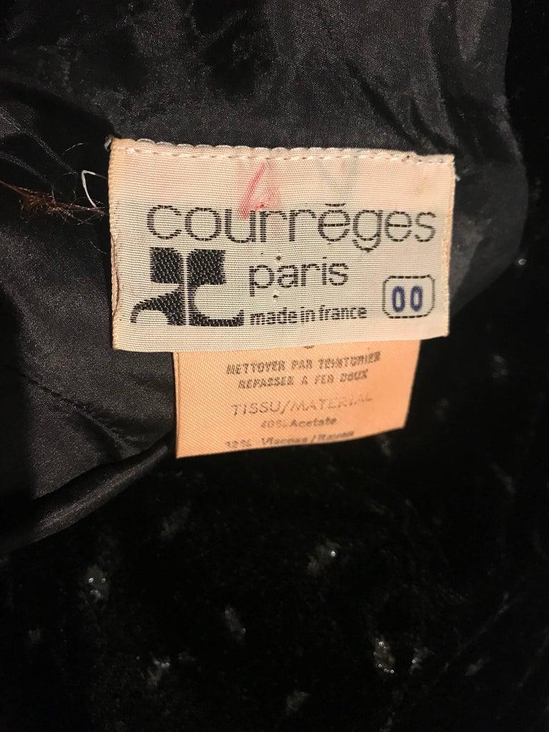 1960s Courreges Black Velvet Metallic Beautiful Vintage 60s A Line Dress  For Sale 6