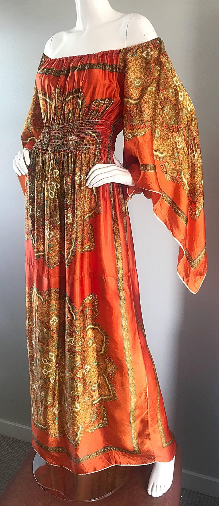 Amazing 1970s Off - Shoulder Boho Ethnic Print Silky Vintage 70s Maxi Dress 3
