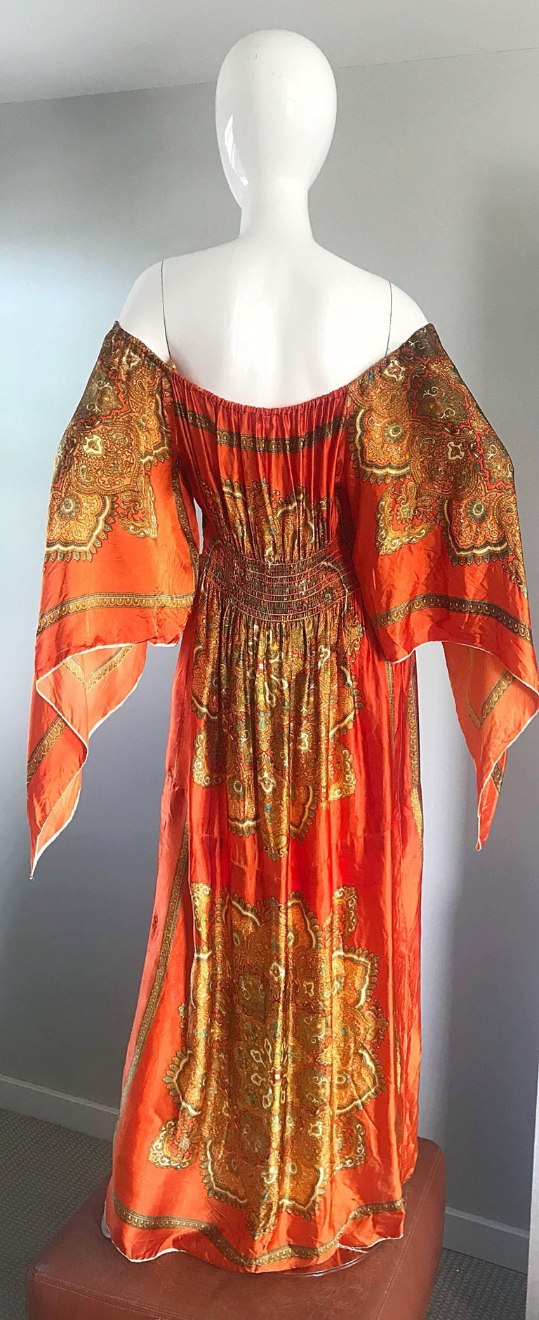 Amazing 1970s Off - Shoulder Boho Ethnic Print Silky Vintage 70s Maxi Dress In Excellent Condition For Sale In Chicago, IL
