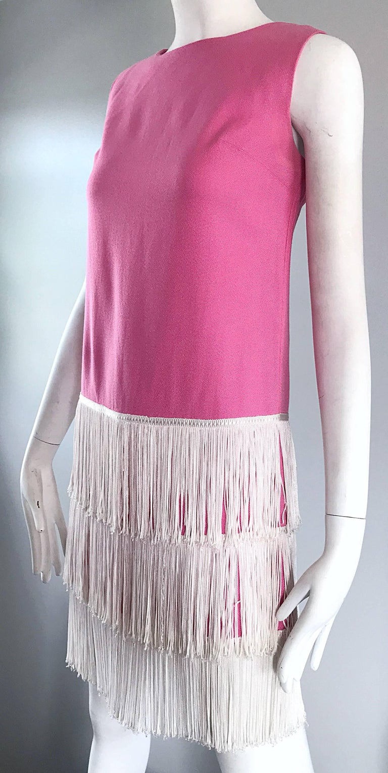 Women's 1960s does 1920s Bubblegum Pink + White Fringe Vintage 60s Flapper Shift Dress For Sale
