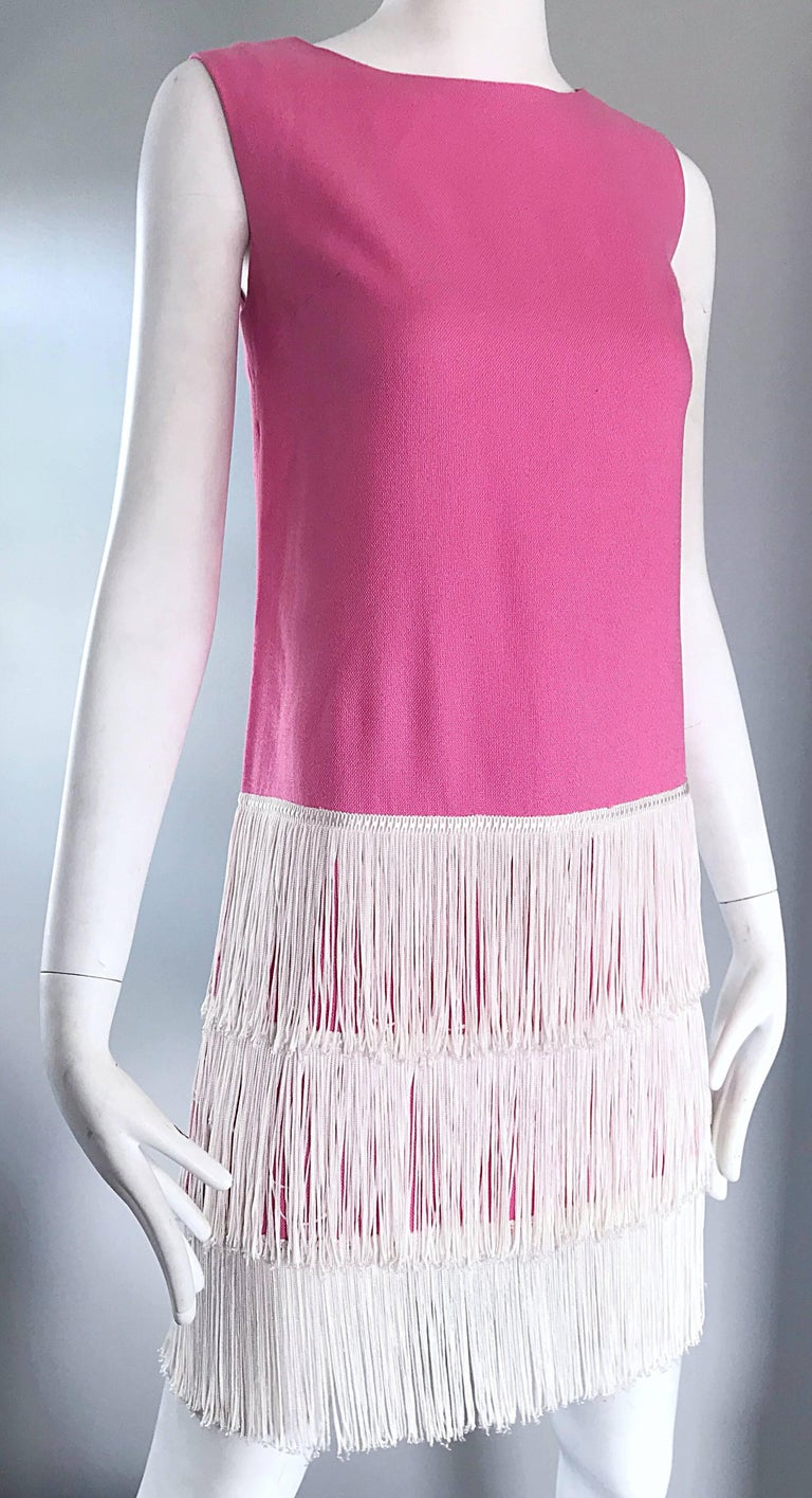 1960s does 1920s Bubblegum Pink + White Fringe Vintage 60s Flapper Shift Dress For Sale 1