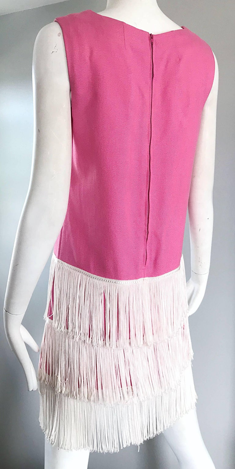 1960s does 1920s Bubblegum Pink + White Fringe Vintage 60s Flapper Shift Dress For Sale 4
