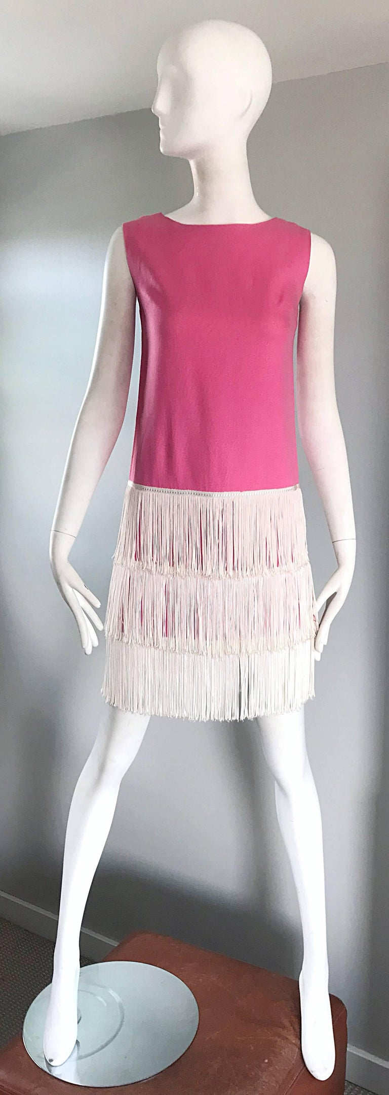 1960s does 1920s Bubblegum Pink + White Fringe Vintage 60s Flapper Shift Dress For Sale 6