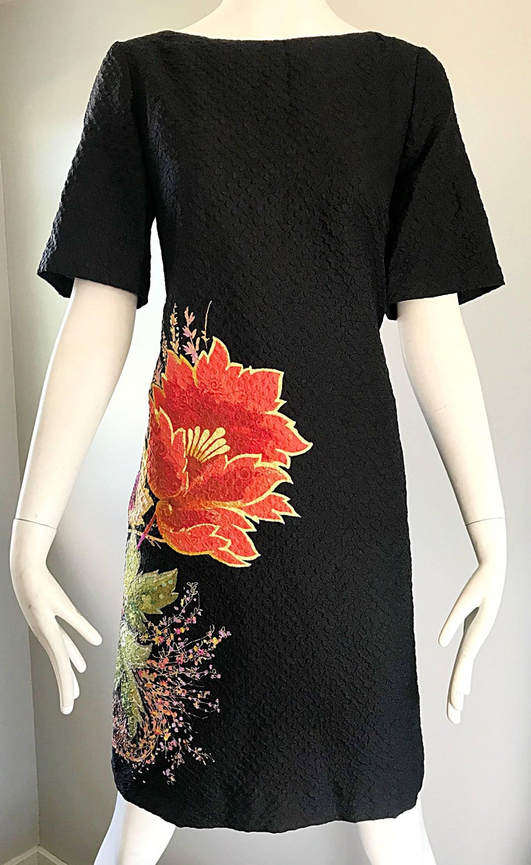 Vintage Etro 1990s Black Silk Size 40 Floral Print Short Sleeve 90s Shift Dress For Sale 2