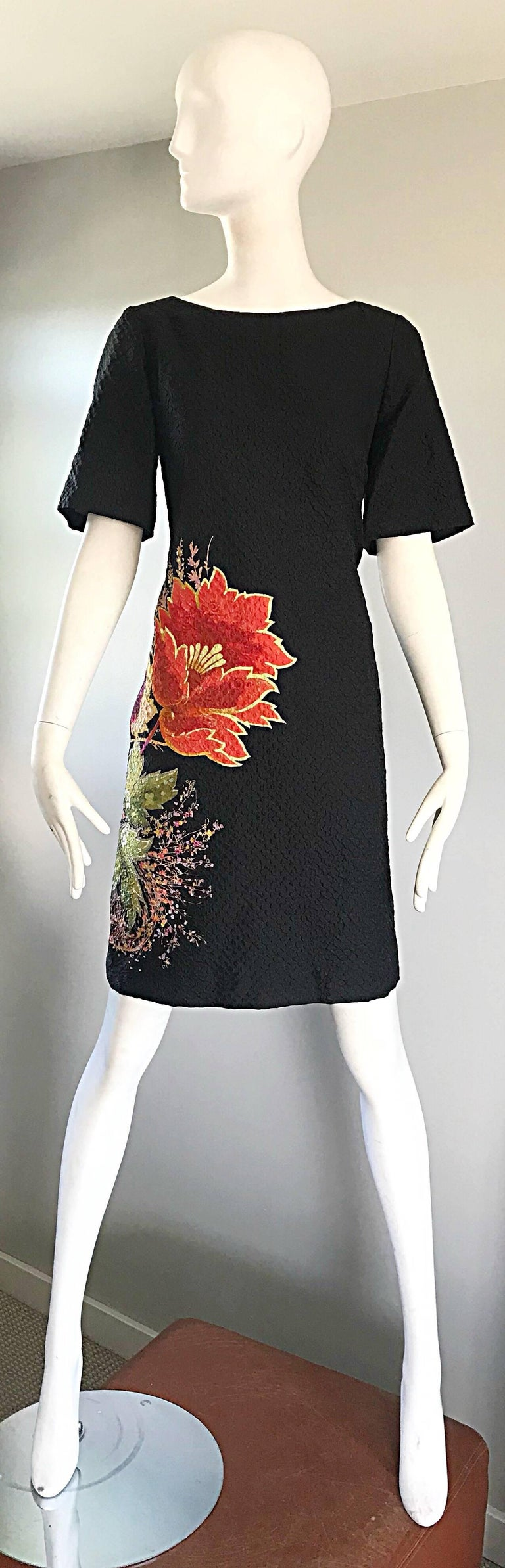 Vintage Etro 1990s Black Silk Size 40 Floral Print Short Sleeve 90s Shift Dress For Sale 5
