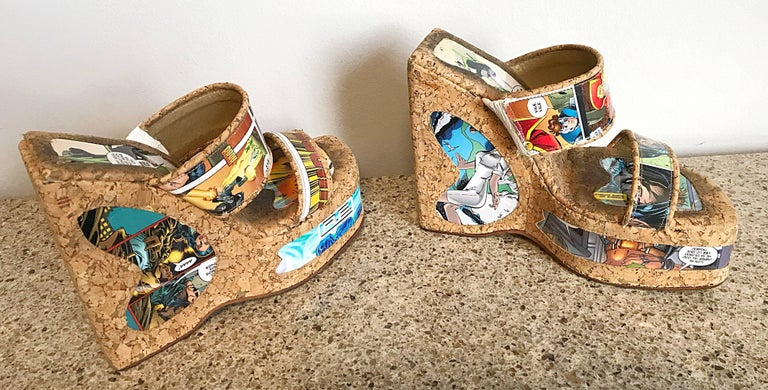 Rare and nothing short of amazing 90s comic book strip novelty cork wedges! Features two straps over the foot, and a block wedge heel. Incredible conversation piece that I've been told are extremely comfortable. Great with jeans, shorts, a skirt or