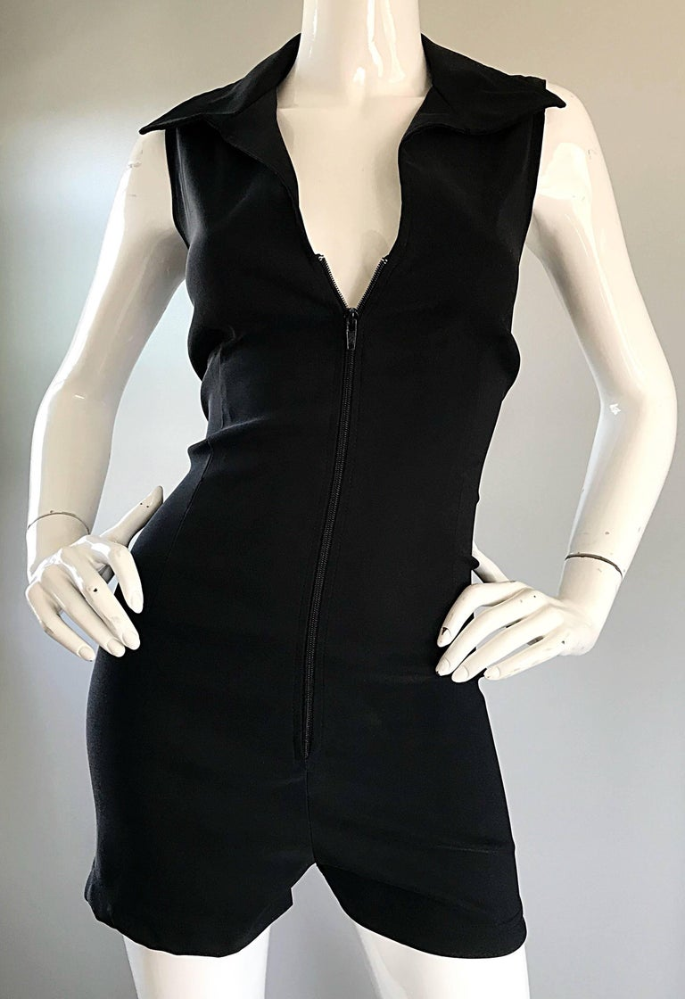 1990s Does 1970s Black Crepe Sleeveless One Piece 90s