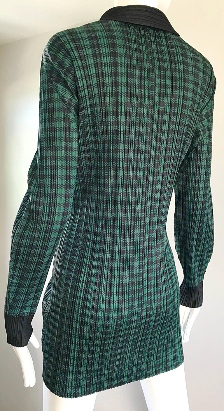 Vintage Issey Miyake Pleats Please 90s Green Black Checkered Jacket Mini Dress For Sale 2