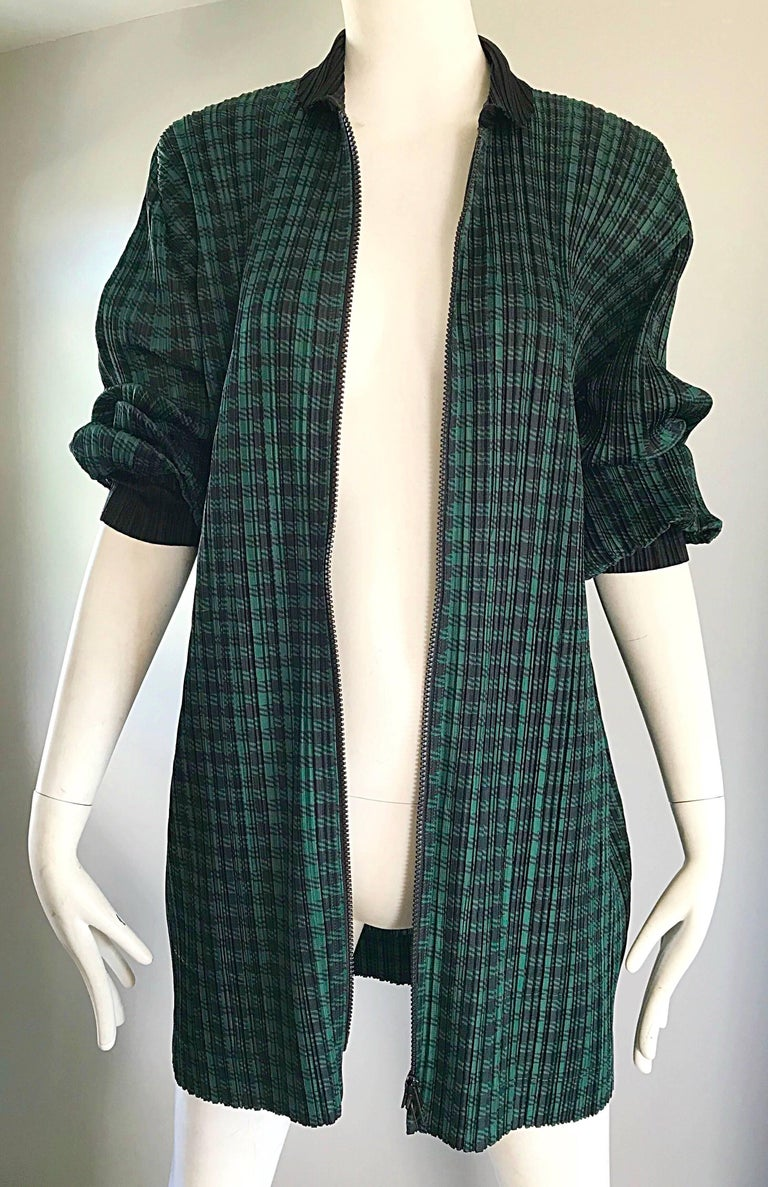 Vintage Issey Miyake Pleats Please 90s Green Black Checkered Jacket Mini Dress For Sale 3
