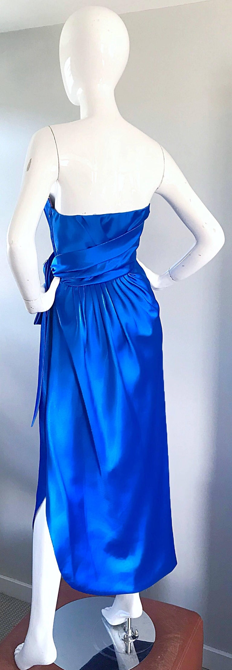 Frank Usher Vintage Royal Blue Satin Strapless Gown and Shawl For ...