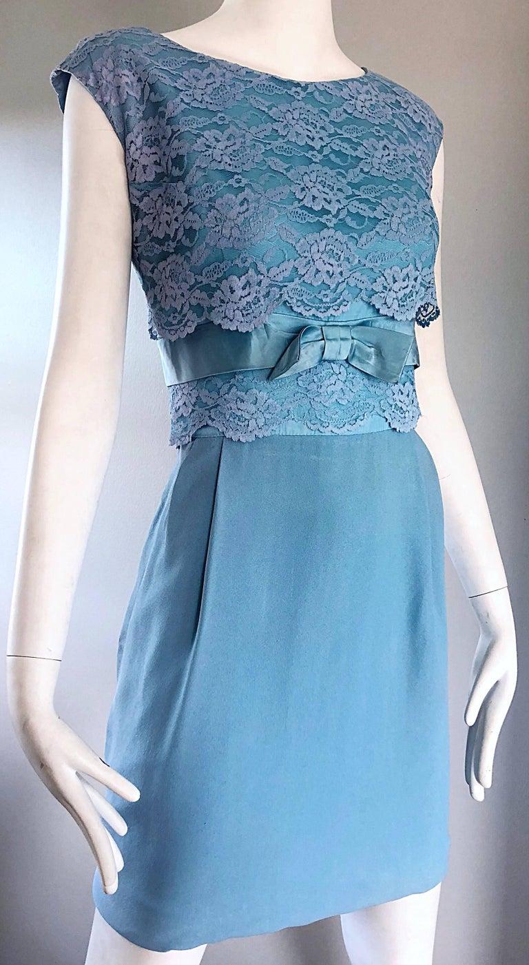 Beautiful 1960s Light Blue Silk Crepe Lace Bow Vintage 60s