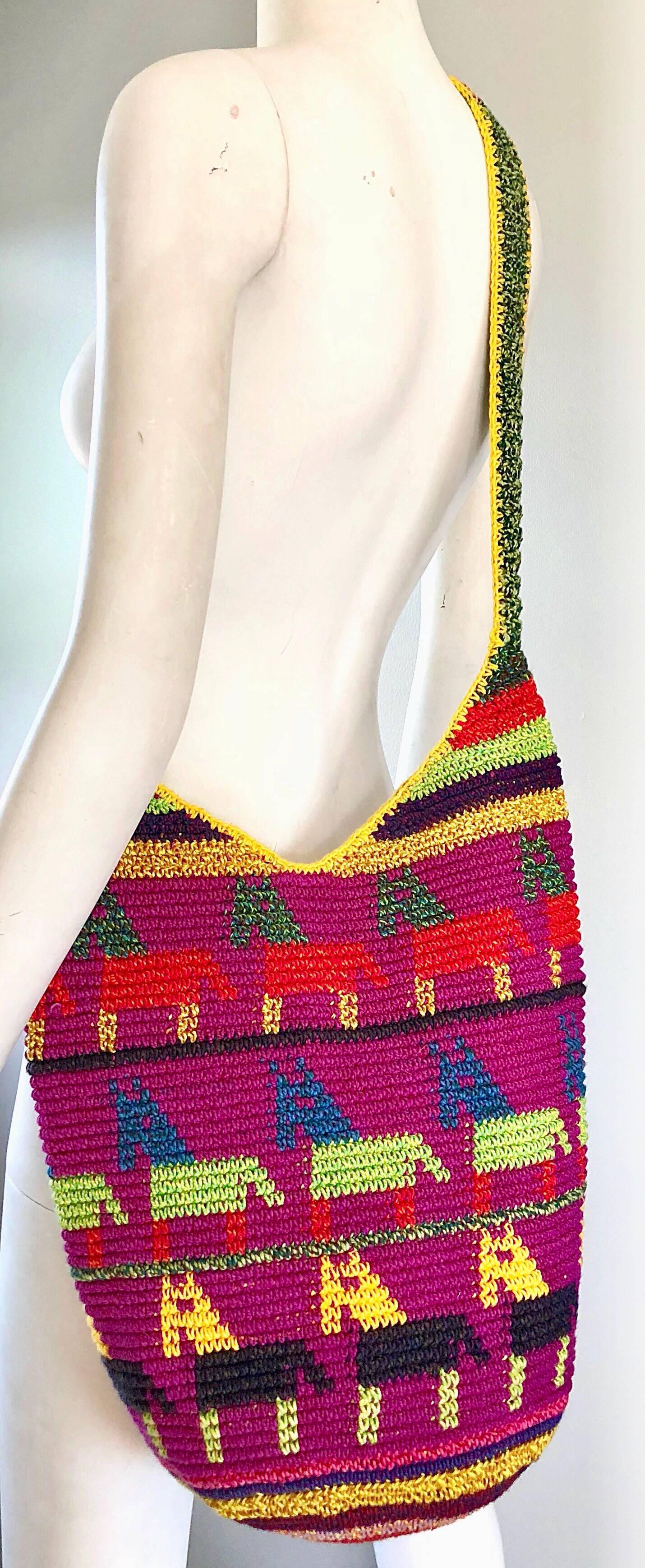 1stdibs Amazing 1970s Xl Hand Crochet Southwestern Colorful Boho Shoulder Crossbody Bag Rm95jiBBW