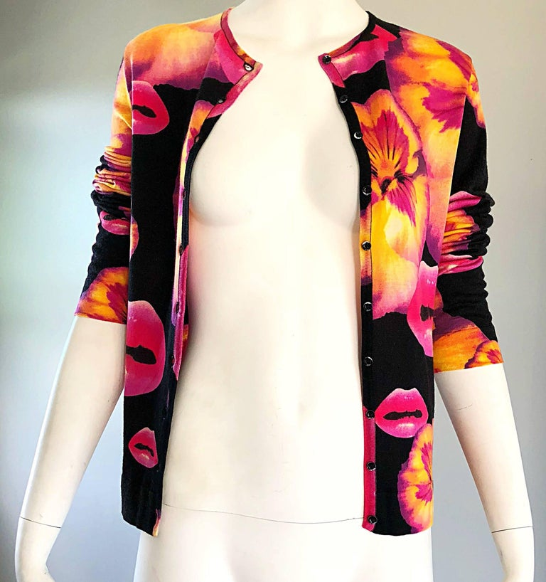 Rare Christian Dior by John Galliano Lips and Pansy Print Cotton Cardigan Top For Sale 1