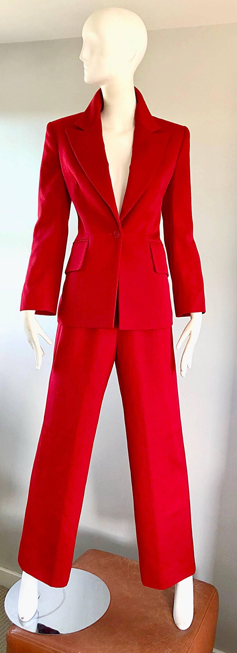 Isaac Mizrahi Vintage 1990s Lipstick Red Wide Leg Wool Le Smoking 90s Pants Suit 2